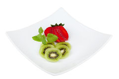 Strawberry and kiwi fruit with clipping path Stock Photo
