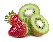 Strawberry and kiwi half isolated on white background Royalty Free Stock Images