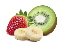 Strawberry kiwi half piece banana isolated on white background Stock Photography