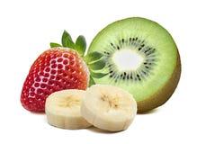 Strawberry kiwi half piece banana isolated on white background Stock Photography