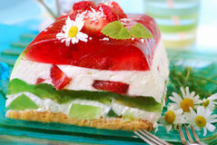 Strawberry and kiwi jelly cake Stock Image