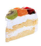 Strawberry, kiwi and orange fruit cake isolated Stock Photo