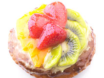 Strawberry Kiwi and Orange in jelly cake Stock Photos