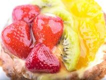 Strawberry Kiwi and Orange in jelly cake Stock Photos