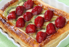 Strawberry and kiwi pie dessert. On plate royalty free stock image