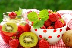 Strawberry and kiwi preserves stock image