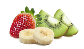 Strawberry kiwi quarter 2 piece banana isolated on white backgro Royalty Free Stock Photos