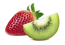 Strawberry and kiwi slice isolated on white background Stock Photo