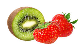 Strawberry and kiwi on white Royalty Free Stock Images