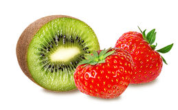 Strawberry and kiwi on white Royalty Free Stock Photography