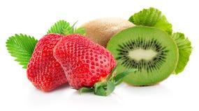Strawberry with kiwis isolated on the white background.  royalty free stock image