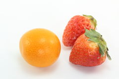 Strawberry and kumquat. This is strawberrys and a kumquat is a fruit of winter in Japan Stock Photo