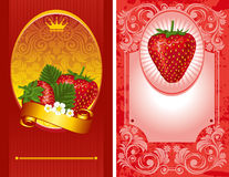 Strawberry label. Delicious strawberry label,  illustration Stock Images