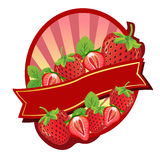 Strawberry Label. Label or Sticker for some product made by strawberry Stock Image