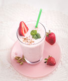 Strawberry lassi above Stock Image