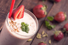 Strawberry  lassi above view Royalty Free Stock Photography