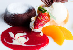Strawberry lava with ice cream Stock Image