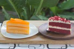 Strawberry layer and orange cake Royalty Free Stock Photo