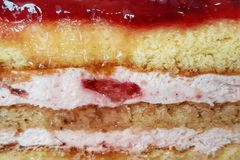 Strawberry Layers Sponge Cake Texture royalty free stock images