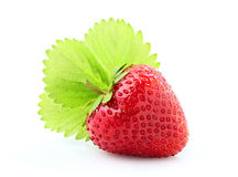 Strawberry with leaf closeup. Royalty Free Stock Image