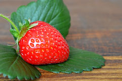 Strawberry and a leaf Stock Photography