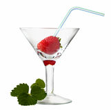 Strawberry leaves and berry with cocktail straw Stock Photos