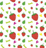 Strawberry and leaves with candy and heart pattern isolated vect Stock Photo