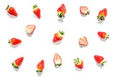 Strawberry with leaves close-up macro isolated Royalty Free Stock Photo