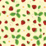 Strawberry with leaves and flowers Stock Photo