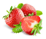 Strawberry with leaves isolated. Stock Photo