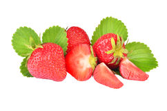 Strawberry with leaves isolated on a white. Background royalty free stock photos