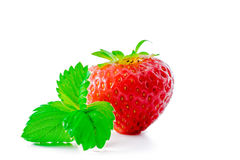 Strawberry with leaves isolated on white Stock Photo