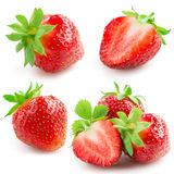 Strawberry with leaves isolated on a white. Collectio Stock Photo