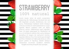 Strawberry with leaves label set. striped badge with text. Royalty Free Stock Image