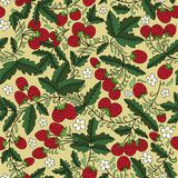Strawberry and leaves on striped background Royalty Free Stock Images