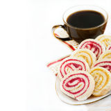 Strawberry and lemon jam swiss roll with cup of coffee Royalty Free Stock Image