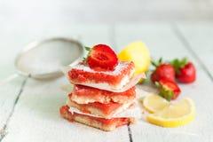 Strawberry lemonade bars for healthy breakfast royalty free stock photos