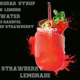 Strawberry lemonade with black background Royalty Free Stock Image