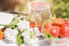 Strawberry lemonade, cocktail with ice and mint in glasses and jug with green background outdoors, copy space. Refreshing summer b. Erry drink. Sparkling drink stock photo
