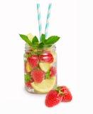 Strawberry lemonade with lemon slices. Stock Photo