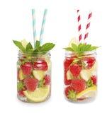 Strawberry lemonade with lemon slices. Stock Photography