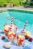 Strawberry lemonade at pool side Royalty Free Stock Photos