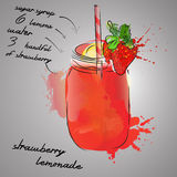 Strawberry lemonade. With ricepe and watercolor splash Stock Images