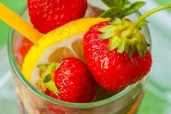 Strawberry lemonade shot with fresh berries Royalty Free Stock Image