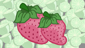 Strawberry and lemons. Strawberries on lemons pattern background Stock Photography
