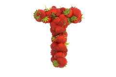 Strawberry letter T Stock Image
