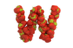 Strawberry letter W Royalty Free Stock Photos