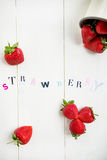Strawberry Letters cut out from the Magazine Stock Images