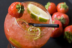 Strawberry and lime cocktail Royalty Free Stock Image