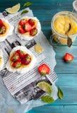 Strawberry-lime pavlova Stock Photography